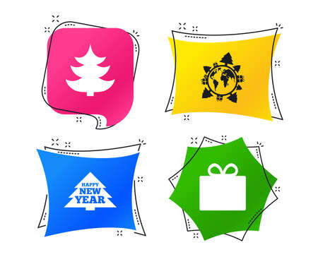 Happy new year icon. Christmas trees and gift box signs. World globe symbol. Geometric colorful tags. Banners with flat icons. Trendy design. Vector Illustration