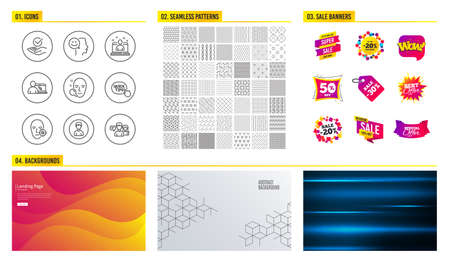Seamless pattern. Shopping mall banners. Set of Person, Online education and Quick tips icons. Problem skin, Best manager and Good mood signs. Face search, Approved and People talking symbols. Vector
