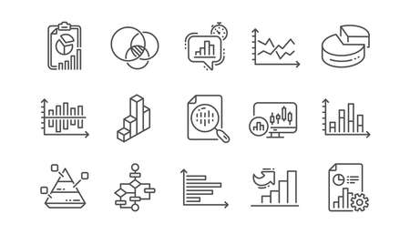 Charts and graphs line icons. Infochart, Block diagram and Algorithm. Presentation linear icon set  Vector  イラスト・ベクター素材