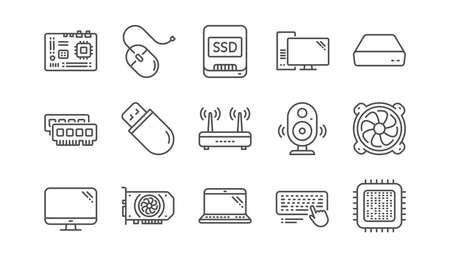 Iconos de línea de dispositivo de computadora. Placa base, CPU y portátil. Conjunto de iconos lineales de memoria SSD. Vector