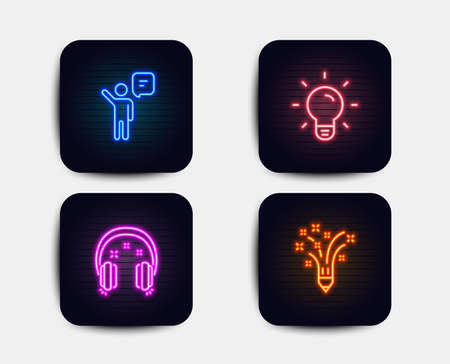 Neon glow lights. Set of Headphones, Light bulb and Agent icons. Inspiration sign. Earphones, Lamp energy, Business person. Creativity pencil.  Neon icons. Glowing light banners. Vector