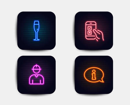 Neon glow lights. Set of Champagne glass, Engineer and Mobile survey icons. Information sign. Winery, Worker profile, Phone quiz test. Info center.  Neon icons. Glowing light banners. Vector