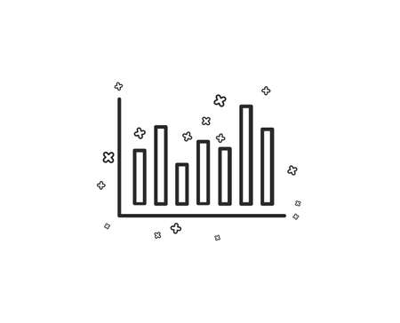 Column chart line icon. Financial graph sign. Stock exchange symbol. Business investment. Geometric shapes. Random cross elements. Linear Bar diagram icon design. Vector