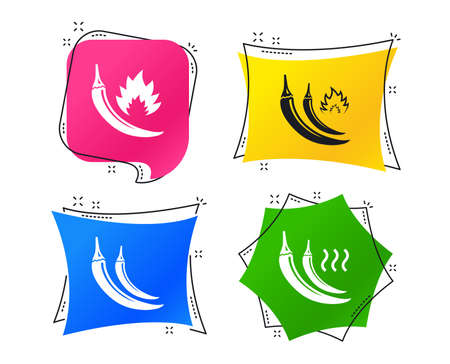 Hot chili pepper icons. Spicy food fire sign symbols. Geometric colorful tags. Banners with flat icons. Trendy design. Vector
