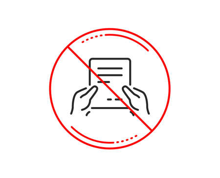 No or stop sign. Hold Document line icon. Agreement Text File sign. Contract with signature symbol. Caution prohibited ban stop symbol. No  icon design.  Vector Illustration