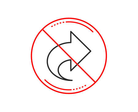 No or stop sign. Share arrow line icon. Link Arrowhead symbol. Communication sign. Caution prohibited ban stop symbol. No  icon design.  Vector