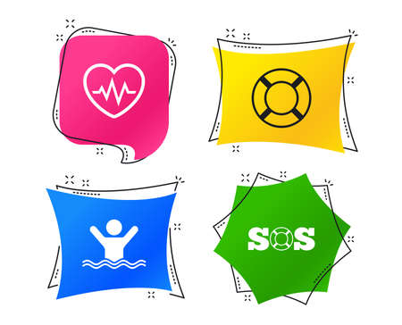 SOS lifebuoy icon. Heartbeat cardiogram symbol. Swimming sign. Man drowns. Geometric colorful tags. Banners with flat icons. Trendy design. Vector 일러스트