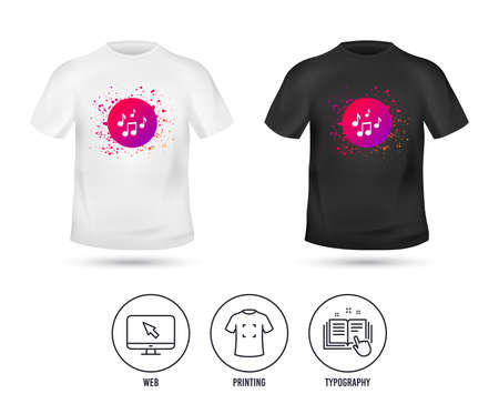 T-shirt mock up template. Music notes sign icon. Musical symbol. Realistic shirt mockup design. Printing, typography icon. Vector