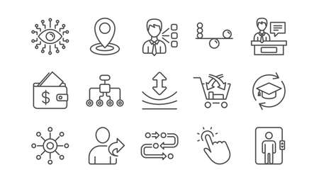 Artificial intelligence, Balance and Refer friend line icons. Timeline, Multichannel. Linear icon set.  Vector