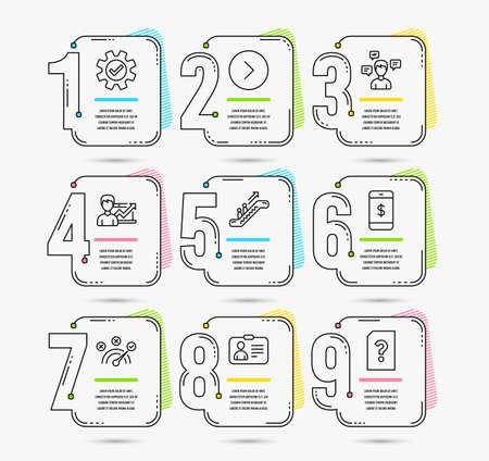 Infographic template with numbers 9 options. Set of Smartphone payment, Id card and Escalator icons. Service, Conversation messages and Correct answer signs. Vector  イラスト・ベクター素材
