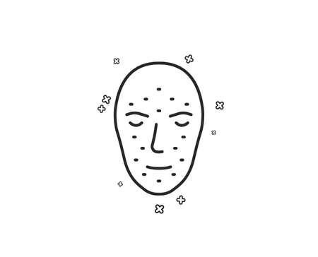 Face biometrics line icon. Facial recognition sign. Head scanning symbol. Geometric shapes. Random cross elements. Linear Face biometrics icon design. Vector