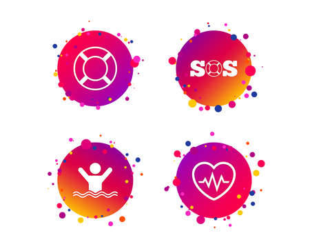 SOS lifebuoy icon. Heartbeat cardiogram symbol. Swimming sign. Man drowns. Gradient circle buttons with icons. Random dots design. Vector