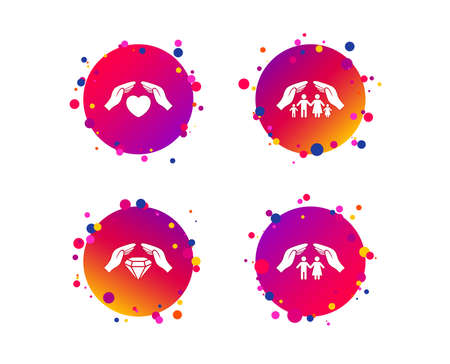 Hands insurance icons. Couple and family life insurance symbols. Heart health sign. Diamond jewelry symbol. Gradient circle buttons with icons. Random dots design. Vector Foto de archivo - 124745032