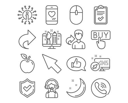 Set of Love chat, Creative design and Mouse cursor icons. Buying, Feedback and Support signs. Checklist, Computer mouse and Share symbols. Smartphone, Designer, Click arrow. Vector