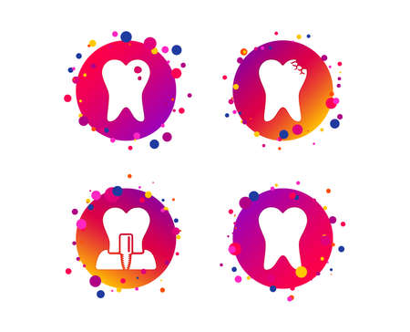 Dental care icons. Caries tooth sign. Tooth endosseous implant symbol. Gradient circle buttons with icons. Random dots design. Vector