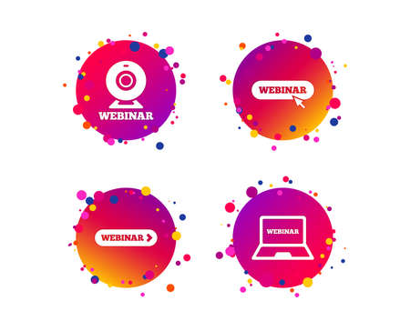 Webinar icons. Web camera and notebook pc signs. Website e-learning or online study symbols. Gradient circle buttons with icons. Random dots design. Vector