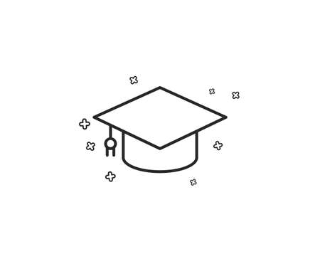 Graduation cap line icon. Education sign. Student hat symbol. Geometric shapes. Random cross elements. Linear Graduation cap icon design. Vector Banco de Imagens - 124745036