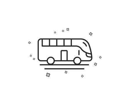 Bus tour transport line icon. Transportation sign. Tourism or public vehicle symbol. Geometric shapes. Random cross elements. Linear Bus tour icon design. Vector