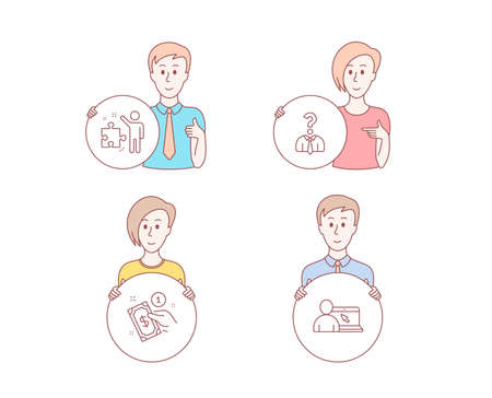 People hand drawn style. Set of Hiring employees, Payment method and Strategy icons. Online education sign. Human resources, Give money, Business plan. Internet lectures.  Character hold circle button Standard-Bild - 118159939