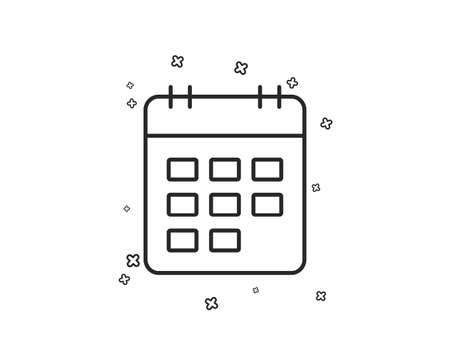 Calendar line icon. Event reminder sign. Agenda symbol. Geometric shapes. Random cross elements. Linear Calendar icon design. Vector