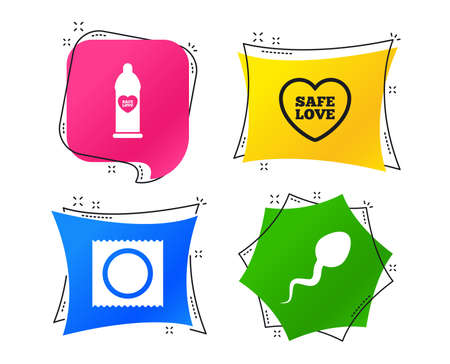 Safe sex love icons. Condom in package symbol. Sperm sign. Fertilization or insemination. Geometric colorful tags. Banners with flat icons. Trendy design. Vector