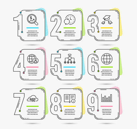 Infographic template with numbers 9 options. Set of Technical info, Throw hats and Update time icons. International recruitment, Globe and Restructuring signs. Vector