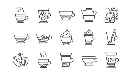 Coffee types and Tea icons. Mocha, Cappuccino and Latte. Americano cup linear icon set.  Vector Illustration