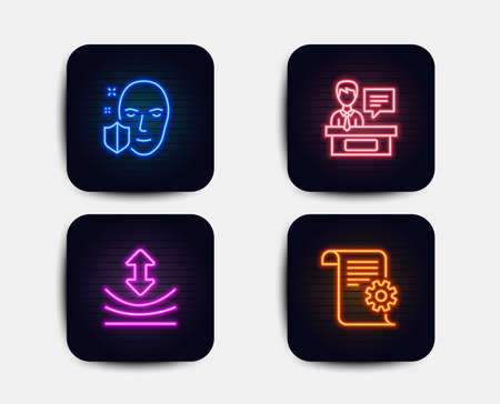 Neon glow lights. Set of Face protection, Resilience and Exhibitors icons. Technical documentation sign. Secure access, Elastic, Information desk. Manual.  Neon icons. Glowing light banners. Vector