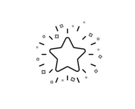 Icona della linea della stella di rango. Simbolo di ricompensa di successo. Segno di miglior risultato. Forme geometriche. Elementi incrociati casuali. Disegno dell'icona della stella di rango lineare. Vettore