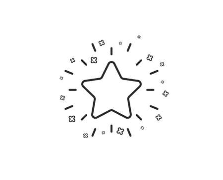 Rang Sternsymbol. Erfolgs-Belohnungssymbol. Bestes Ergebniszeichen. Geometrische Formen. Zufällige Kreuzelemente. Linearer Rang-Stern-Icon-Design. Vektor