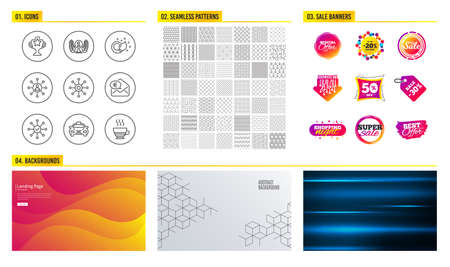 Seamless pattern. Shopping mall banners. Set of Laureate award, Taxi and Networking icons. Multichannel, Survey check and Euro money signs. Paint brush, Victory and Doppio symbols. Vector