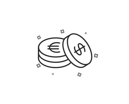 Coins money line icon. Banking currency sign. Euro and Dollar Cash symbols. Geometric shapes. Random cross elements. Linear Savings icon design. Vector Illustration