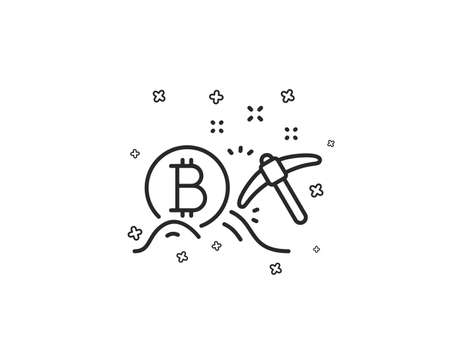 Bitcoin mining line icon. Cryptocurrency coin sign. Crypto money pickaxe symbol. Geometric shapes. Random cross elements. Linear Bitcoin mining icon design. Vector Ilustracja