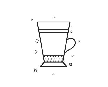 Latte coffee icon. Hot drink sign. Beverage symbol. Geometric shapes. Random cross elements. Linear Latte icon design. Vector Illustration