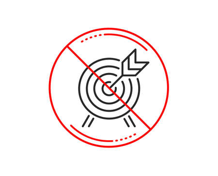 No or stop sign. Archery line icon. Amusement park attraction sign. Caution prohibited ban stop symbol. No  icon design.  Vector Stock Vector - 118159994