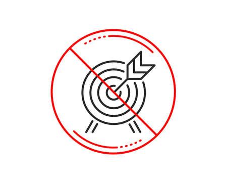 No or stop sign. Archery line icon. Amusement park attraction sign. Caution prohibited ban stop symbol. No  icon design.  Vector Illustration