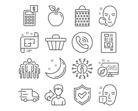 Set of Face search, Shopping bag and Architectural plan icons. Face attention, Group and Truck delivery signs. Shop cart, Calculator and Coffee vending symbols. Vector Foto de archivo - 118159997