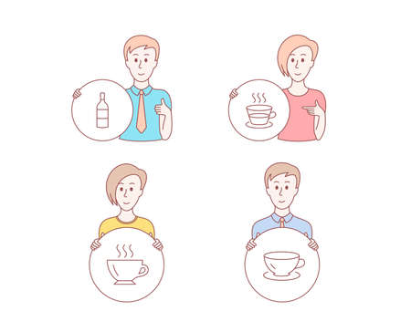 People hand drawn style. Set of Coffee, Coffee cup and Wine bottle icons. Espresso sign. Cappuccino, Tea mug, Cabernet sauvignon.  Character hold circle button. Man with like hand. Vector Illustration