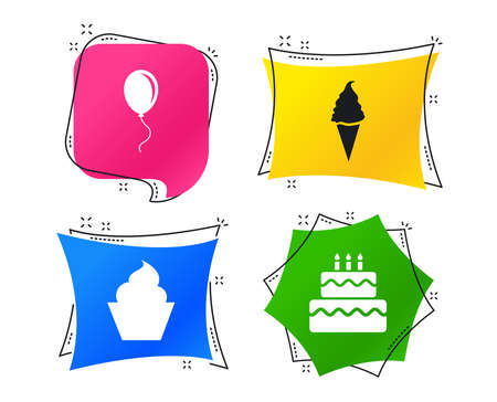 Birthday party icons. Cake with ice cream signs. Air balloon with rope symbol. Geometric colorful tags. Banners with flat icons. Trendy design. Vector