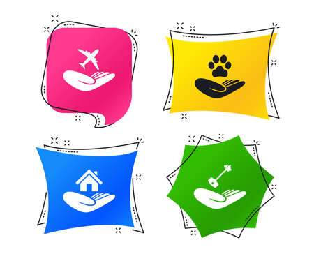 Helping hands icons. Shelter for dogs symbol. Home house or real estate and key signs. Flight trip insurance. Geometric colorful tags. Banners with flat icons. Trendy design. Vector Stock Illustratie