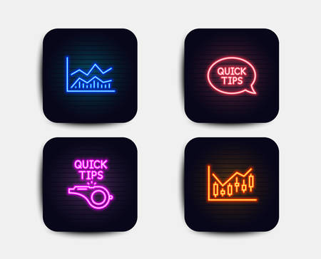 Neon glow lights. Set of Quickstart guide, Trade infochart and Tutorials icons. Financial diagram sign. Helpful tricks, Business analysis, Quick tips. Candlestick chart.  Neon icons. Vector Banque d'images - 118160015