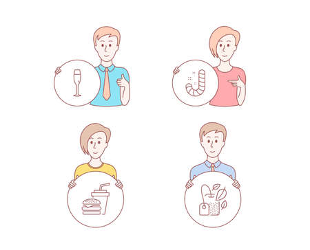 People hand drawn style. Set of Candy, Champagne glass and Hamburger icons. Mint bag sign. Lollypop, Winery, Burger with drink. Mentha tea.  Character hold circle button. Man with like hand. Vector
