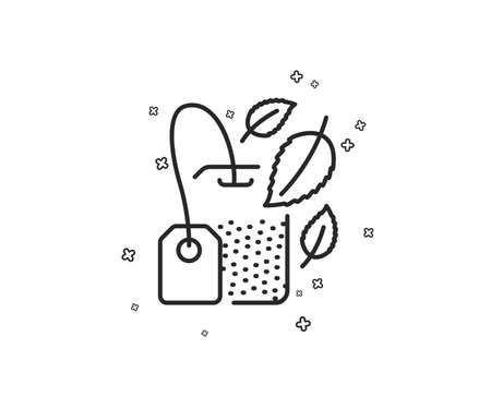 Mint Tea bag line icon. Fresh herbal beverage sign. Mentha leaves symbol. Geometric shapes. Random cross elements. Linear Mint bag icon design. Vector Banco de Imagens - 124745078