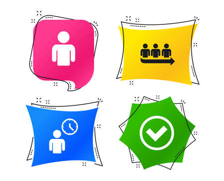 Queue icon. Person waiting sign. Check or Tick and time clock symbols. Geometric colorful tags. Banners with flat icons. Trendy design. Vector