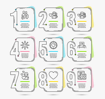 Infographic template with numbers 9 options. Set of Love, Valentine target and Dating network icons. Dating chat, Love mail and Heart signs. Social media symbol. Vector