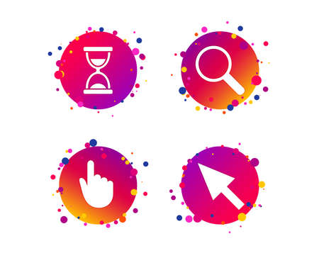 Mouse cursor and hand pointer icons. Hourglass and magnifier glass navigation sign symbols. Gradient circle buttons with icons. Random dots design. Vector Иллюстрация