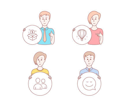 People hand drawn style. Set of Air balloon, Post package and Users icons. Smile sign. Sky travelling, Postbox, Couple of people. Chat emotion.  Character hold circle button. Man with like hand Ilustração