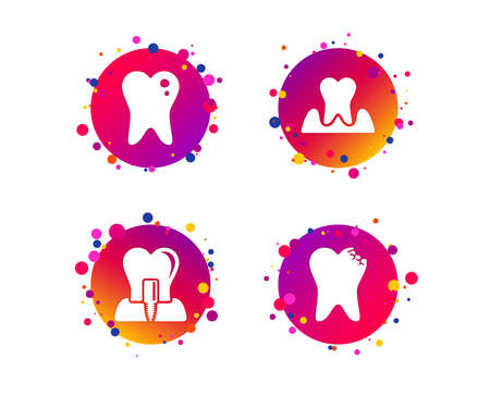 Dental care icons. Caries tooth sign. Tooth endosseous implant symbol. Parodontosis gingivitis sign. Gradient circle buttons with icons. Random dots design. Vector