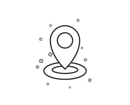 Location line icon. Map pointer sign. Geometric shapes. Random cross elements. Linear Location icon design. Vector Иллюстрация