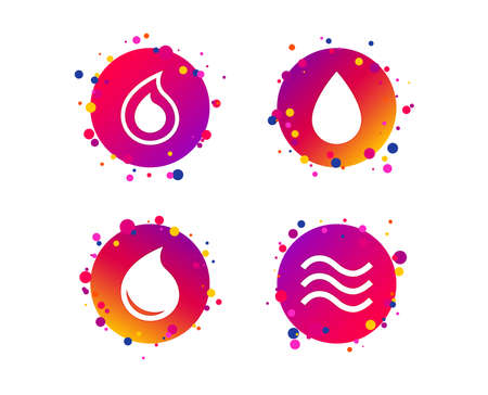 Water drop icons. Tear or Oil drop symbols. Gradient circle buttons with icons. Random dots design. Vector